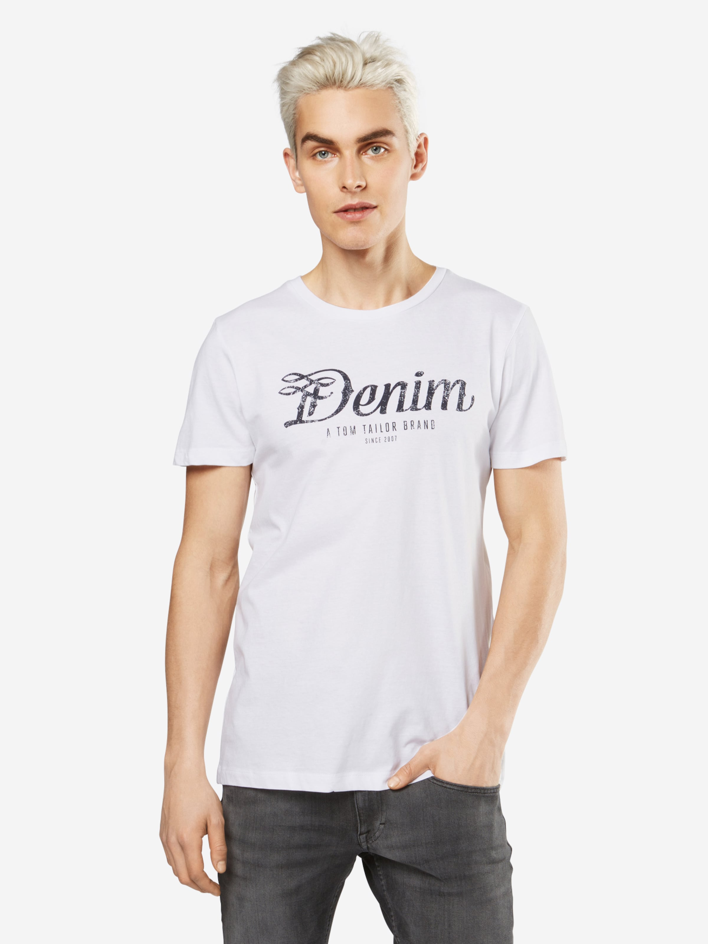 TOM TAILOR DENIM T-Shirt 'NOS crewneck tee with print' Spielraum 2018 Neu Bilder Freies Verschiffen Neue Stile 100% Original Freies Verschiffen Neue VIR9Hq