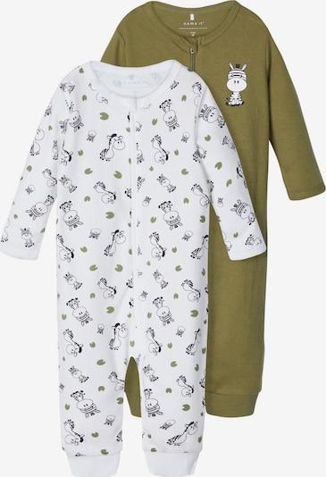 Pijamale NAME IT pe kaki / alb, Vizualizare produs