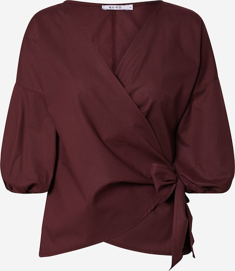 NA-KD Bluse 'wrap over balloon sleeve blouse' in burgunder, Produktansicht