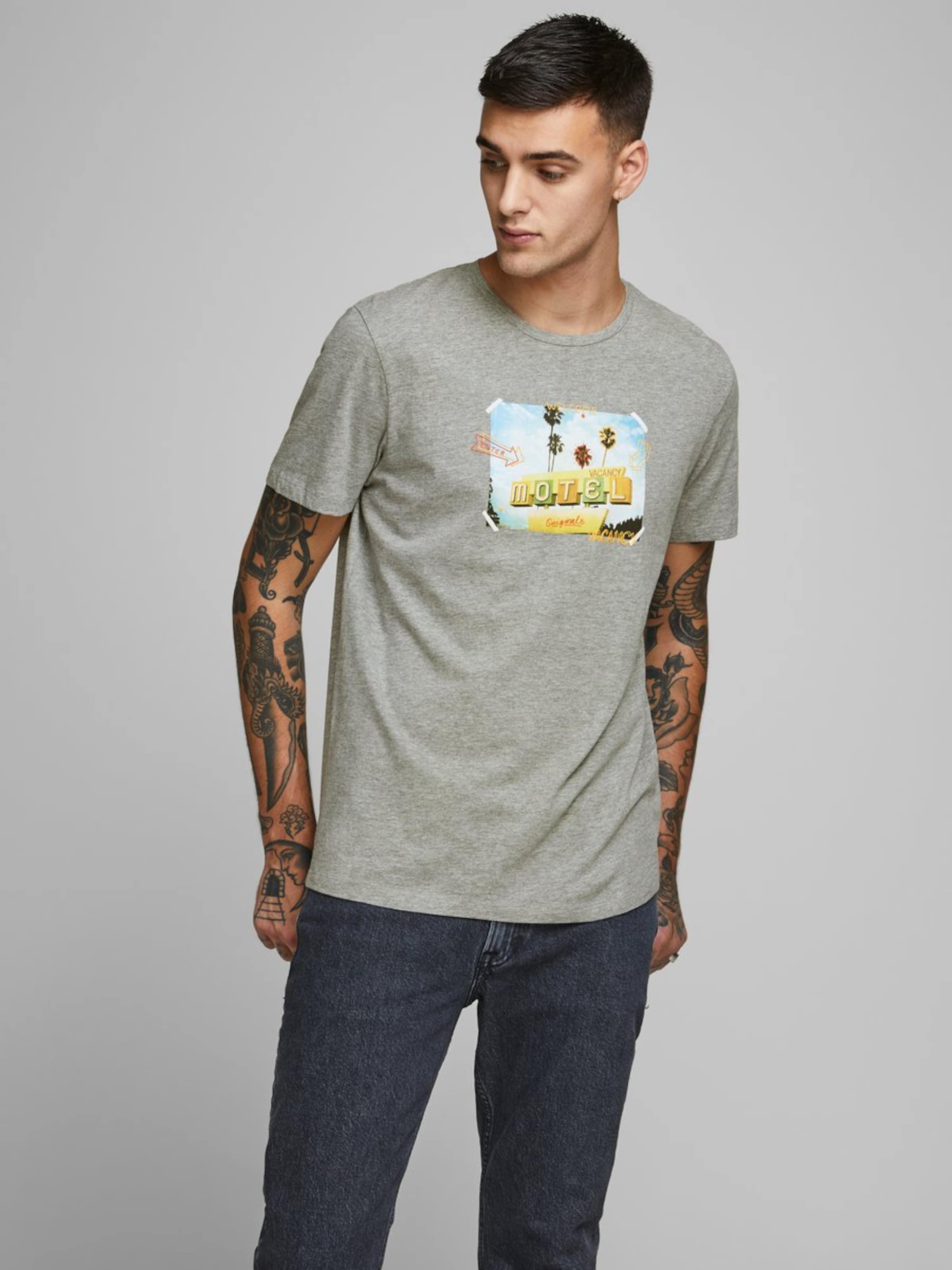 JACK & JONES Shirt in grau Motivprint 5714514236194
