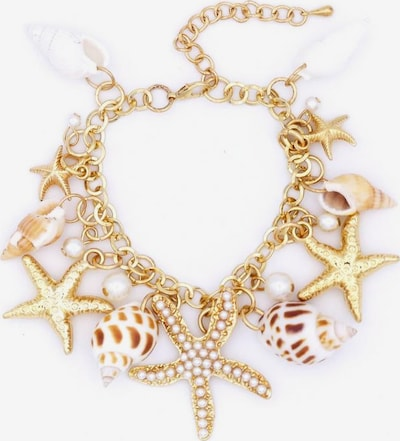 J. Jayz Armband in braun / dunkelbraun / gold / perlweiß, Produktansicht
