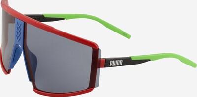 PUMA Sonnenbrille 'PU0285S-002 76 Sunglass UNISEX INJECTION' in blau / neongrün / rot / schwarz, Produktansicht
