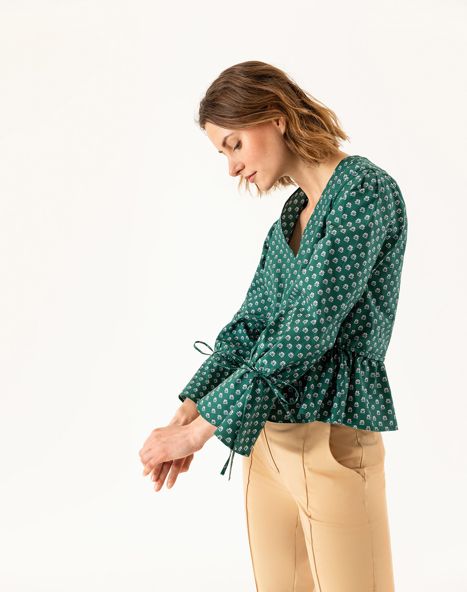 IVY & OAK Blouse 'Liberty London' in Smaragd / Wit vk8UvRss