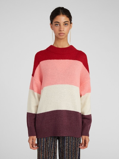EDITED Pullover 'Ulani' in dunkellila / rosa / dunkelrot / weiß, Modelansicht