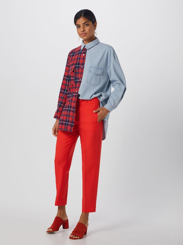 En Chemisier Shirt' Tartan 'splice Missguided Check BleuRouge Denim f7ymY6Ibgv