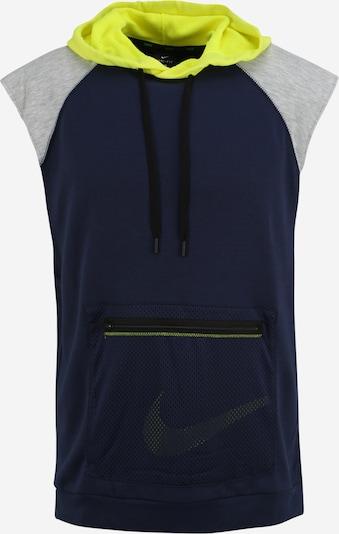 NIKE Bluzka sportowa w kolorze granatowy / neonowo-żółty / szarym: Widok z przodu