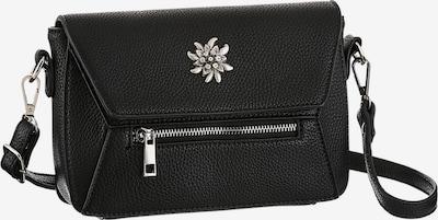 KLIMM Trachtentasche mit Edelweiß-Appliaktion in schwarz: Frontalansicht