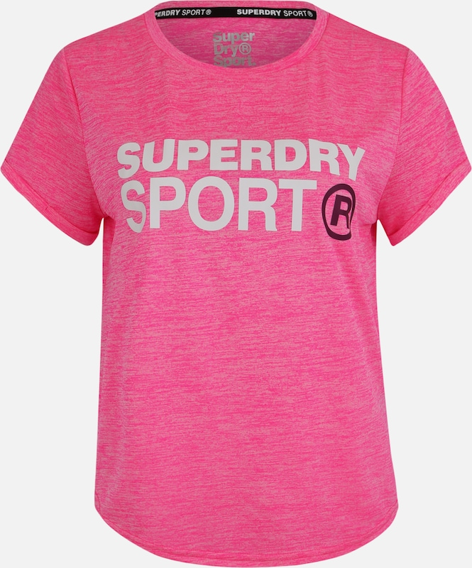 Superdry Funktionsshirt 'ACTIVE LOOSE FIT TEE' in pink / weiß: Frontalansicht