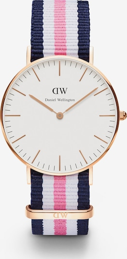 Daniel Wellington Uhr in dunkelblau / gold / pink / weiß, Produktansicht
