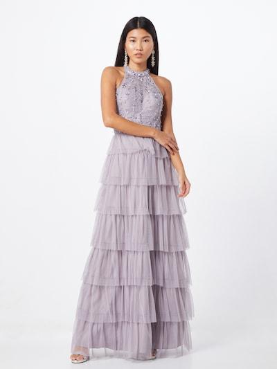 Unique Abendkleid in violettblau / silber, Modelansicht