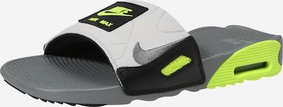 Nike Sportswear Mule 'AIR MAX 90 SLIDE' en gris / citron vert / noir, Vue avec produit