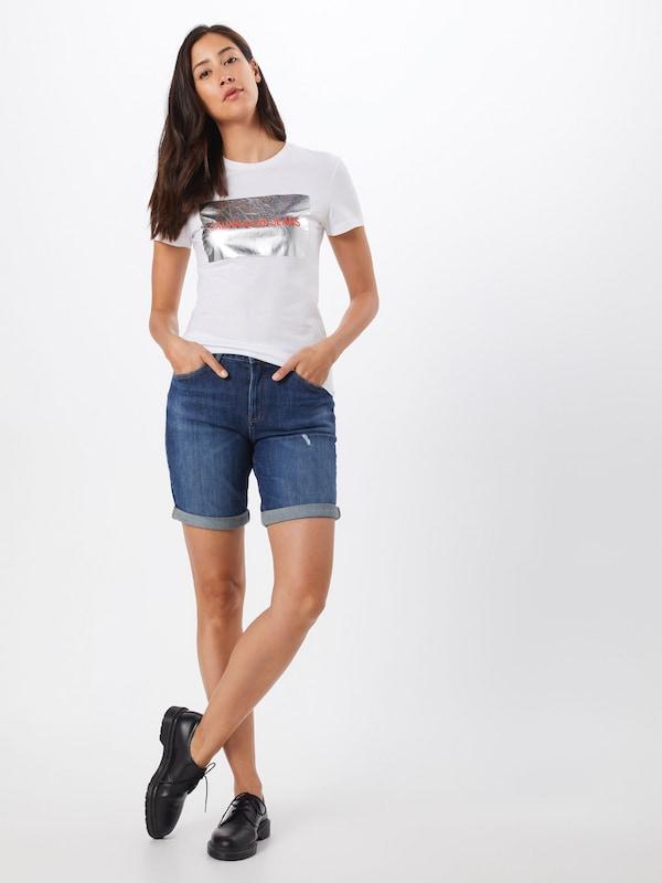 T ClairArgent Jeans Box Blanc Silver Logo 'instit Klein En shirt Rouge Tee' Calvin rQshCxdt
