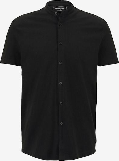 TOM TAILOR DENIM Blusen & Shirts Basic Kurzarmhemd mit Mao-Kragen in schwarz, Produktansicht