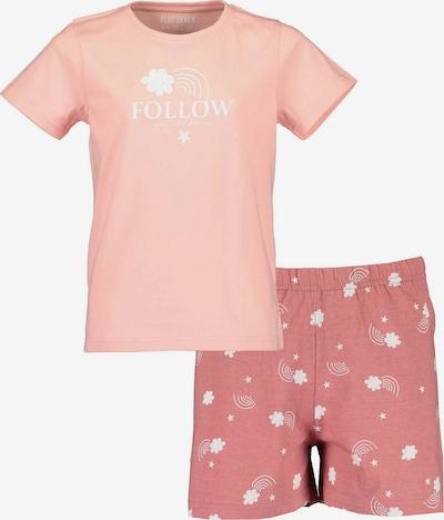 BLUE SEVEN Schlafanzug in rosa / rosé / weiß: Frontalansicht