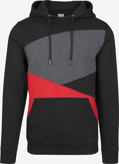 Urban Classics Sweatshirt 'Zig Zag' in de kleur Grijs / Rood / Zwart, Productweergave