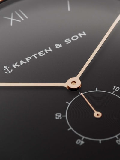 Kapten & Son Uhr 'Heritage Rosegold' in schwarz: Draufsicht