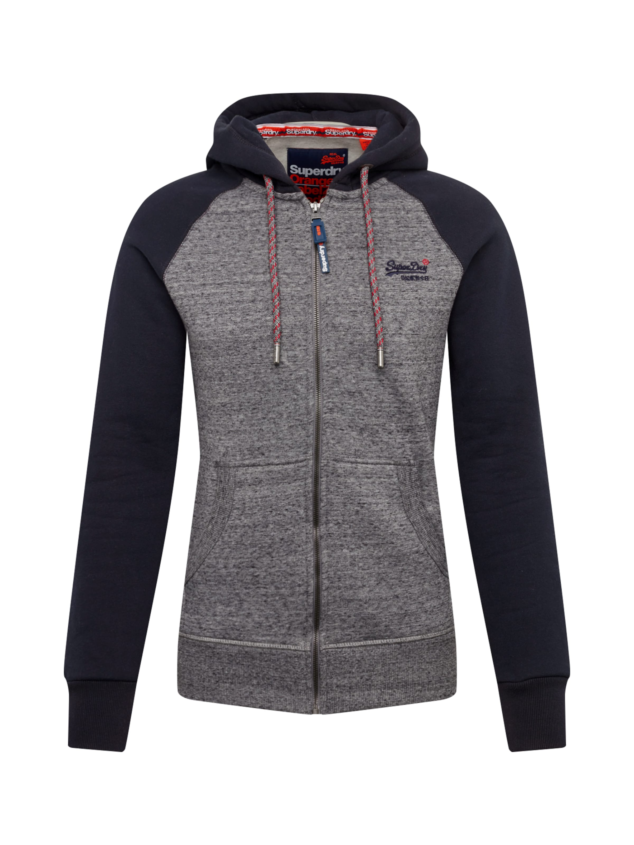 Raglan GrauSchwarz Zip In Hood' Sweatjacke 'orange Superdry Label CQhtrdsx