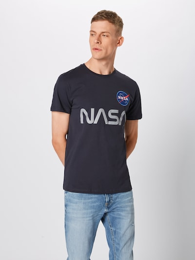 ALPHA INDUSTRIES T-Shirt 'NASA Reflective' en bleu foncé / gris: Vue de face
