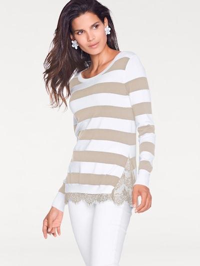 heine Pullover in hellbeige / weiß, Modelansicht