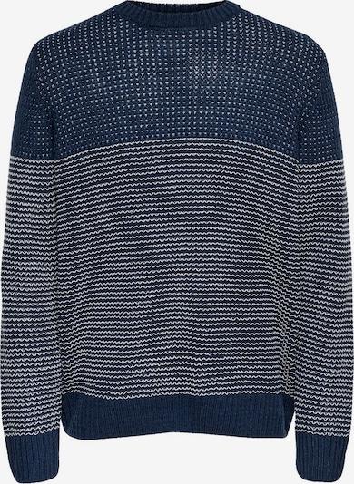 Only & Sons Pullover 'onsHELMIG' in dunkelblau / weiß, Produktansicht