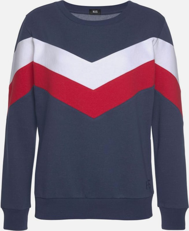 HIS JEANS Sweatshirt in navy / rot / weiß, Produktansicht
