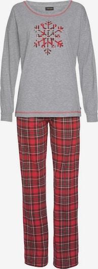 LASCANA Pyjama in graumeliert / rot, Produktansicht