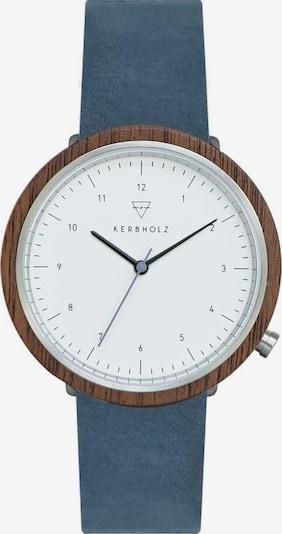 Kerbholz Armbanduhr 'Heinrich' in blau / silber / weiß: Frontalansicht