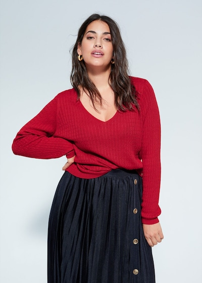 VIOLETA by Mango Pullover 'Cable' in rot: Frontalansicht