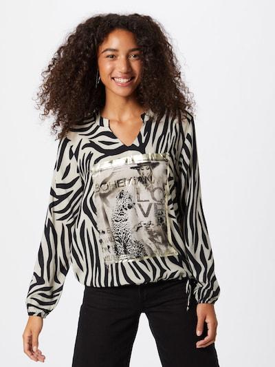 Bluză monari pe bej / negru: Privire frontală