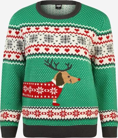 Megztinis 'Ladies Sausage Dog Christmas Sweater' iš Urban Classics Curvy , spalva - tamsiai pilka / mišrios spalvos, Prekių apžvalga