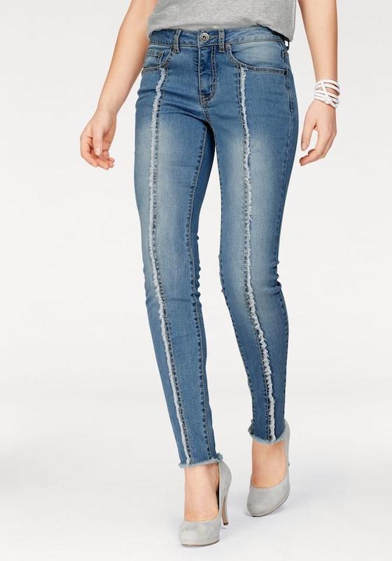 arizona skinny fit jeans 39 mit fransen naht vorn 39 in blau. Black Bedroom Furniture Sets. Home Design Ideas