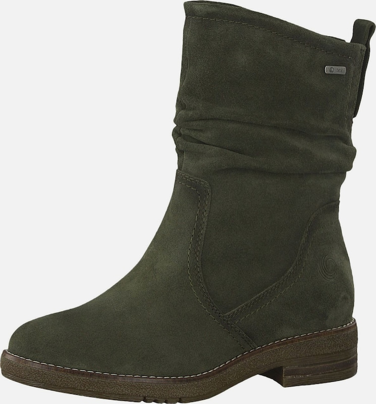 BE NATURAL Stiefelette in khaki: Frontalansicht