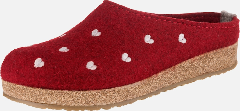 HAFLINGER Pantoffeln 'Grizzly Cuoricino' in rot, Produktansicht