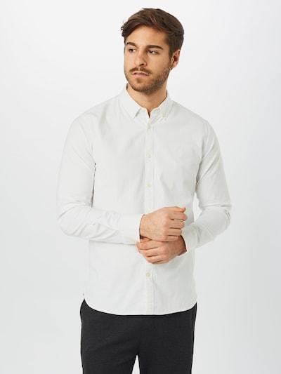 KnowledgeCotton Apparel Hemd 'ELDER' in weiß: Frontalansicht