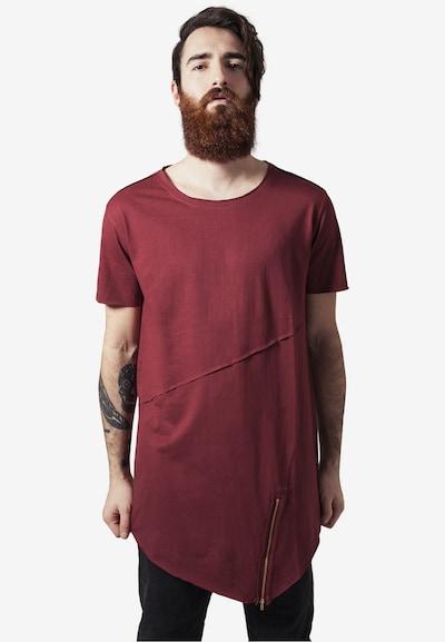 Urban Classics Shirt 'Long Open Edge Front Zip Tee' in merlot: Frontalansicht