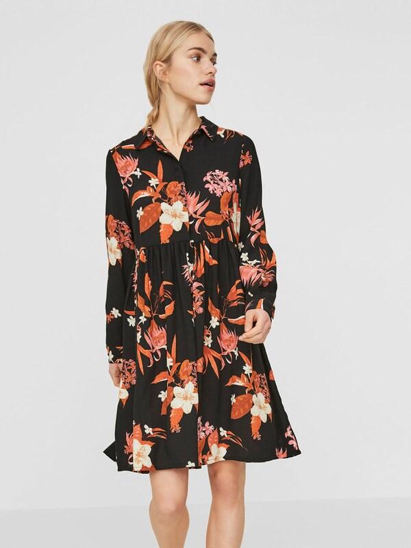 vero moda kleid mit langen Ärmeln blumen in schwarz