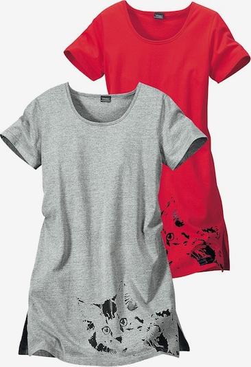 VIVANCE Nachthemd in graumeliert / cranberry, Produktansicht