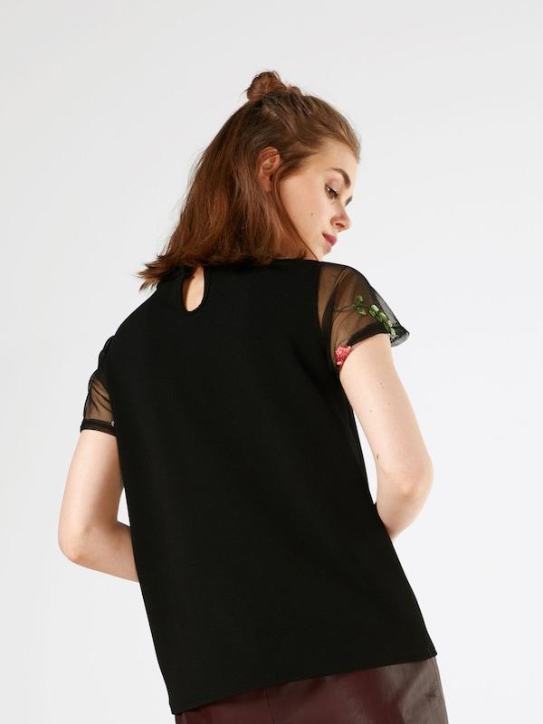 Boohoo Shirt mit Mesh und Stickereien