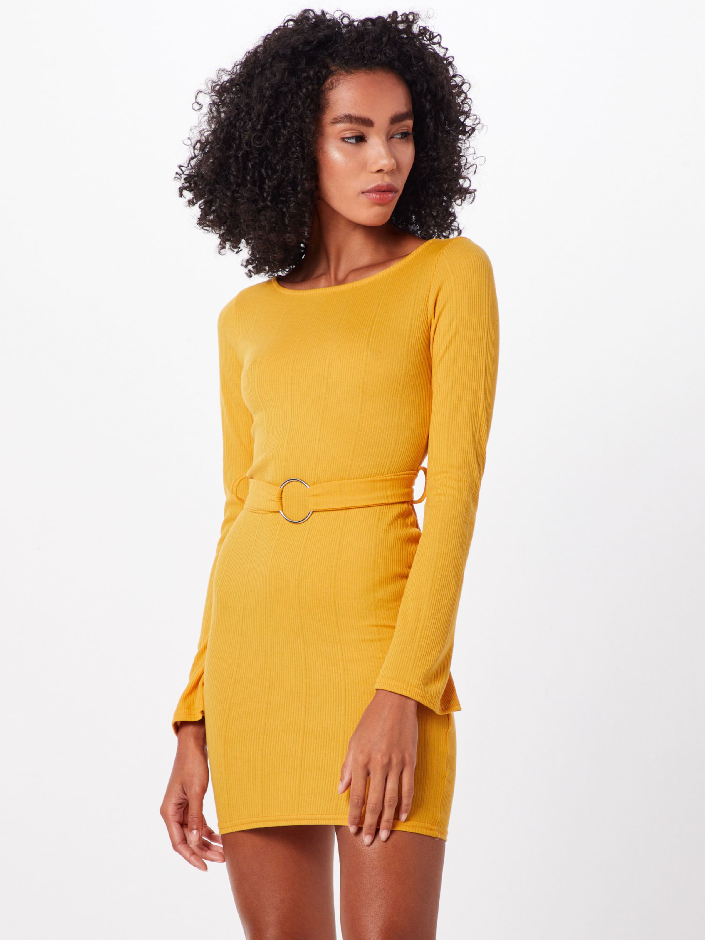 Mini In Dress' Missguided Kleid 'ribbed Ring Senf O Belted lFKJ3T1c