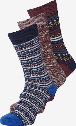 JACK & JONES Socken in blau / gelb / weinrot / weiß, Produktansicht