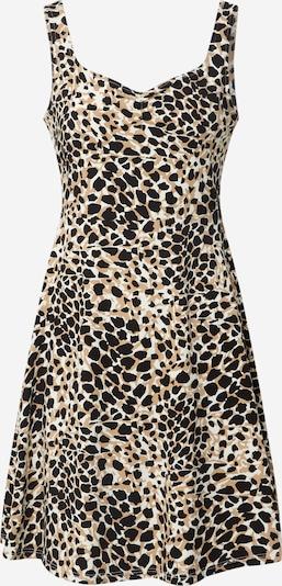 Dorothy Perkins Letní šaty 'Animal Ruched' - béžová / bílá: Pohled zepředu