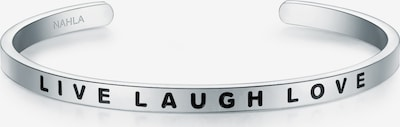 Nahla Jewels Armband Bangle mit LIVE LAUGH LOVE-Gravur in schwarz / silber, Produktansicht