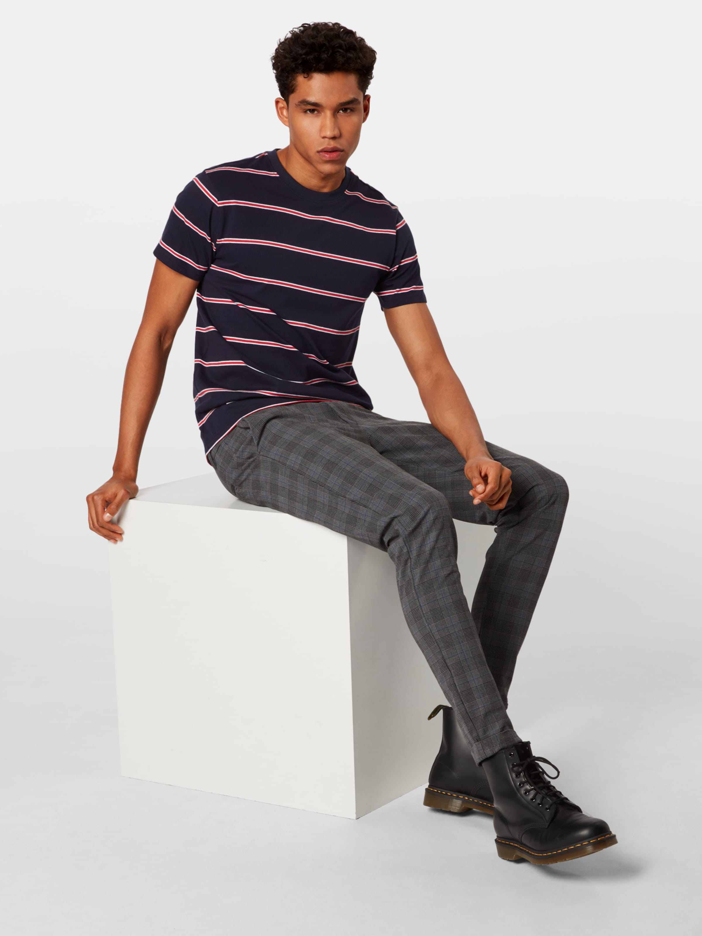 Tee' Urban Classics 'yarn Dyed FoncéRouge shirt En T Stripe Bleu Skate wnONk0PX8