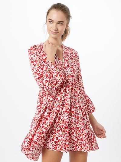 JACQUELINE de YONG Kleid in rot / offwhite, Modelansicht