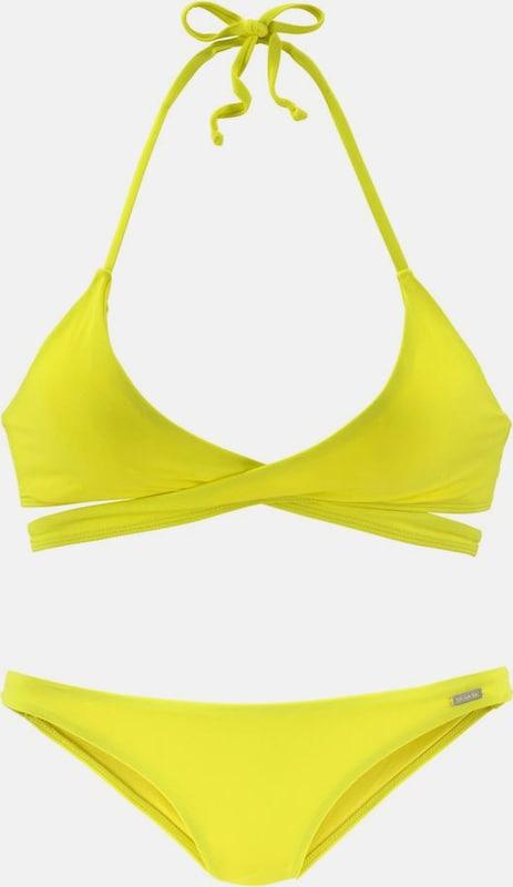 BENCH Triangel-Bikini in Wickeloptik in gelb  Großer Rabatt