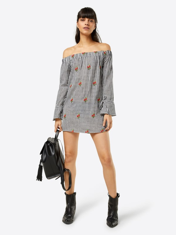 Embroidered En Robe Shift' Boohoo 'rita Gingham NoirBlanc QrhdCtsx