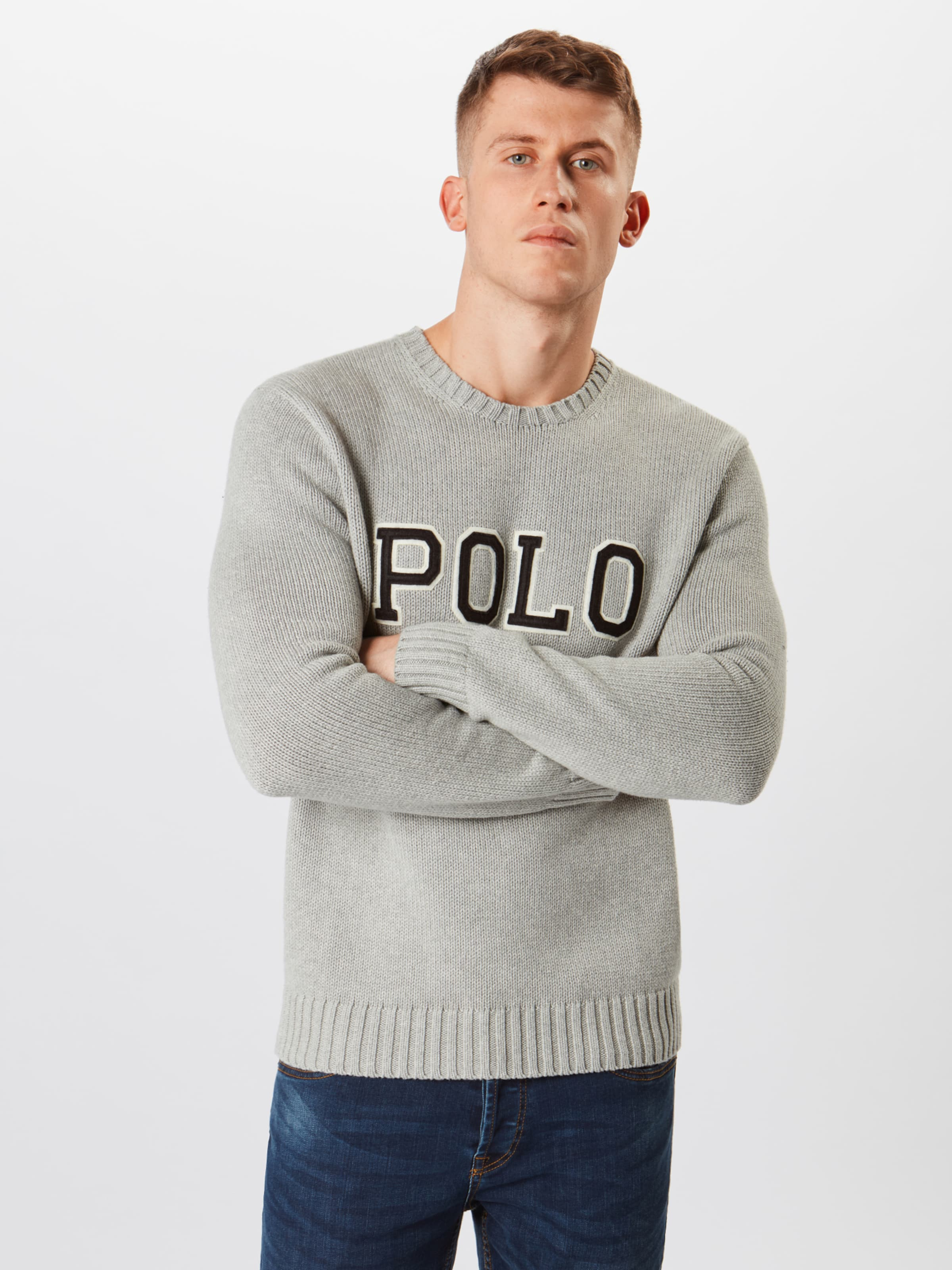 Sleeve over Cn 'logo Polo Lauren Pull En long Bleu Ralph NuitGris sweater' PwNkn0XO8