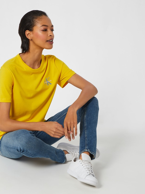 En shirt Klein Straight' Calvin T Jeans 'monogram Embroidery Jaune LMzUqVSpG