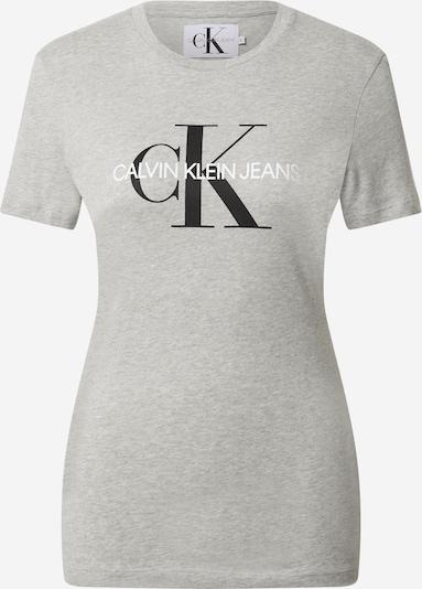 Calvin Klein Jeans Тениска в светлосиво / черно / бяло, Преглед на продукта