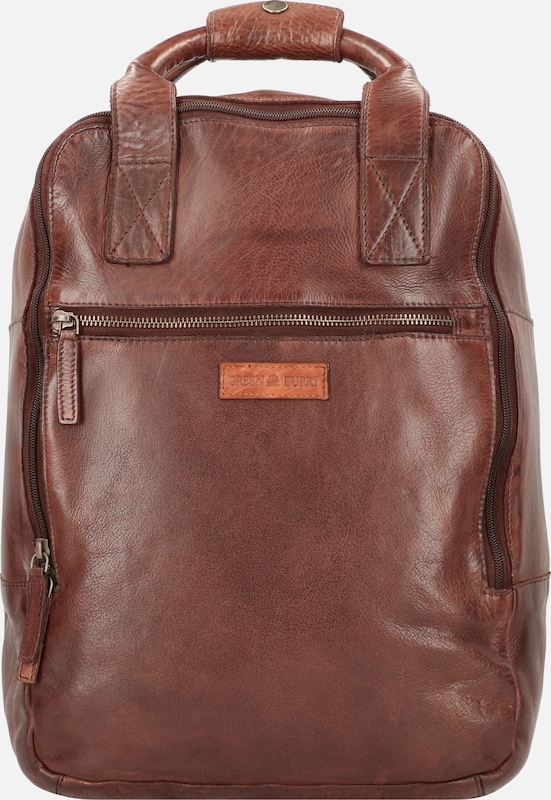 GREENBURRY Rucksack 'Vintage Washed' in braun: Frontalansicht